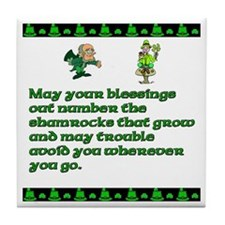 Irish Sayings, Toasts and Ble Tile Coaster