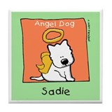 Sadie, Small Dog Angel Memorial Tile Coaster