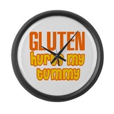 Gluten Hurts My Tummy Large Wall Clock