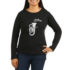 Retro Tuba Silhouette Women's Long Sleeve Dark T-S