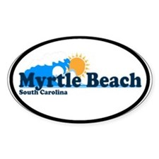 Myrtle Beach SC - Beach Design Oval Decal