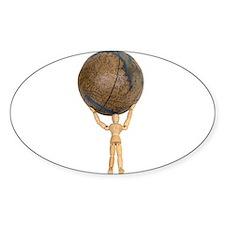 Atlas holds the globe Oval Sticker (10 pk)