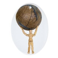 Atlas holds the globe Oval Ornament