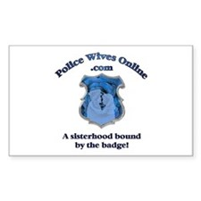 Police Wives Online Sheild Lo Sticker (Rectangular