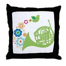 Retro Flower French Horn Throw Pillow
