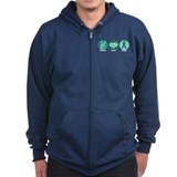 Peace Love Green Hope Zipped Hoodie