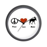 Peace, Love Maine Wall Clock