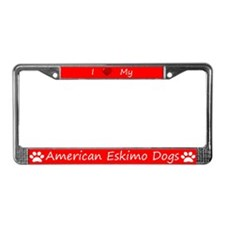 Red I Love My American Eskimo Dogs Frame