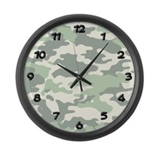 GREEN CAMO Large Wall Clock