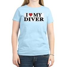 I Love My Diver Women's Pink T-Shirt