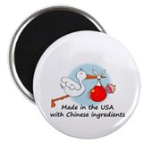 Stork Baby China USA Magnet