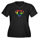 Super Gay! Outlined Women's Plus Size V-Neck Dark