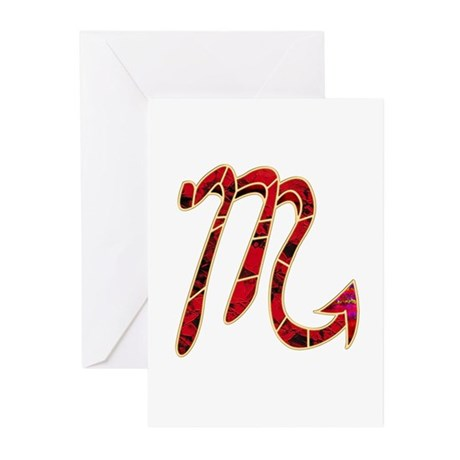 Scorpio Zodiac Symbol Greeting Cards (Pk of 10