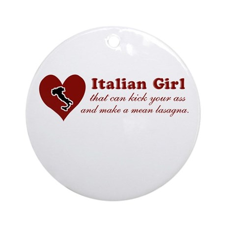 Funny Italian Girl Ornament (Round)