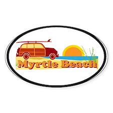 Myrtle Beach SC - Surfing Design Oval Stickers
