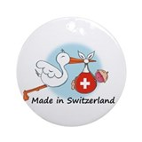 Stork Baby Switzerland Ornament (Round)