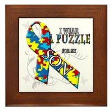 I Wear A Puzzle for my Son Framed Tile