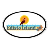 Edisto Island SC - Beach Design Oval Decal
