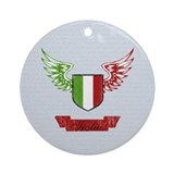 Vintage Italia Flag Wings Ornament (Round)