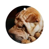 Chinese shar pei Round Ornaments