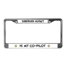 Co-pilot: Siberian Husky License Plate Frame