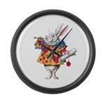ALICE'S WHITE RABBIT Large Wall Clock