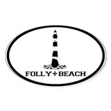 Folly Beach SC - Lighthouse Design Oval Decal