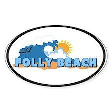 Folly Beach - Sun and Waves Design Oval Decal