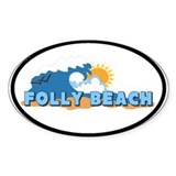 Folly Beach - Sun and Waves Design Decal