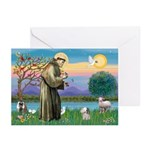 St. Francis / Poodle (parti) Greeting Cards (Pk of