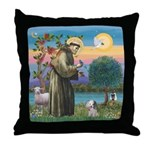 St. Francis / Poodle (parti) Throw Pillow
