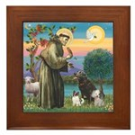 St Francis/3 dogs Framed Tile