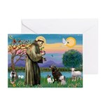 St Francis/3 dogs Greeting Cards (Pk of 20)