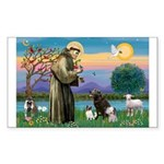 St Francis/3 dogs Rectangle Sticker