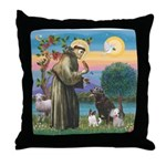 St Francis/3 dogs Throw Pillow
