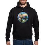 St Francis/3 dogs Hoodie (dark)