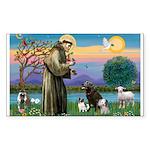 St Francis/3 dogs Rectangle Sticker 10 pk)