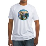 St Francis/3 dogs Fitted T-Shirt