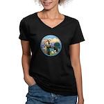 St Francis/3 dogs Women's V-Neck Dark T-Shirt