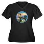 St Francis/3 dogs Women's Plus Size V-Neck Dark T-
