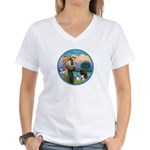 St Francis/3 dogs Women's V-Neck T-Shirt