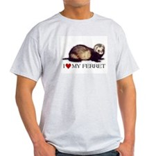 Ash Grey T-Shirt - I love my ferret