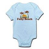Folly Beach - Sun and Palm Trees Design. Infant Bo