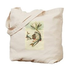 Fish Playing Accordion Vintage Art Tote Bag