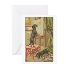 Dachshund Dogs Vintage Art Greeting Card