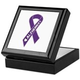 Purple Alzheimer's Ribbon Keepsake Box