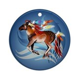 Horse N Bright Feathers Ornament (Round)