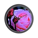 Fushia Rose Bud Wall Clock
