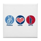 Peace Love NYC rwb Tile Coaster