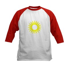 Yellow Sunburst Kids Baseball Jersey